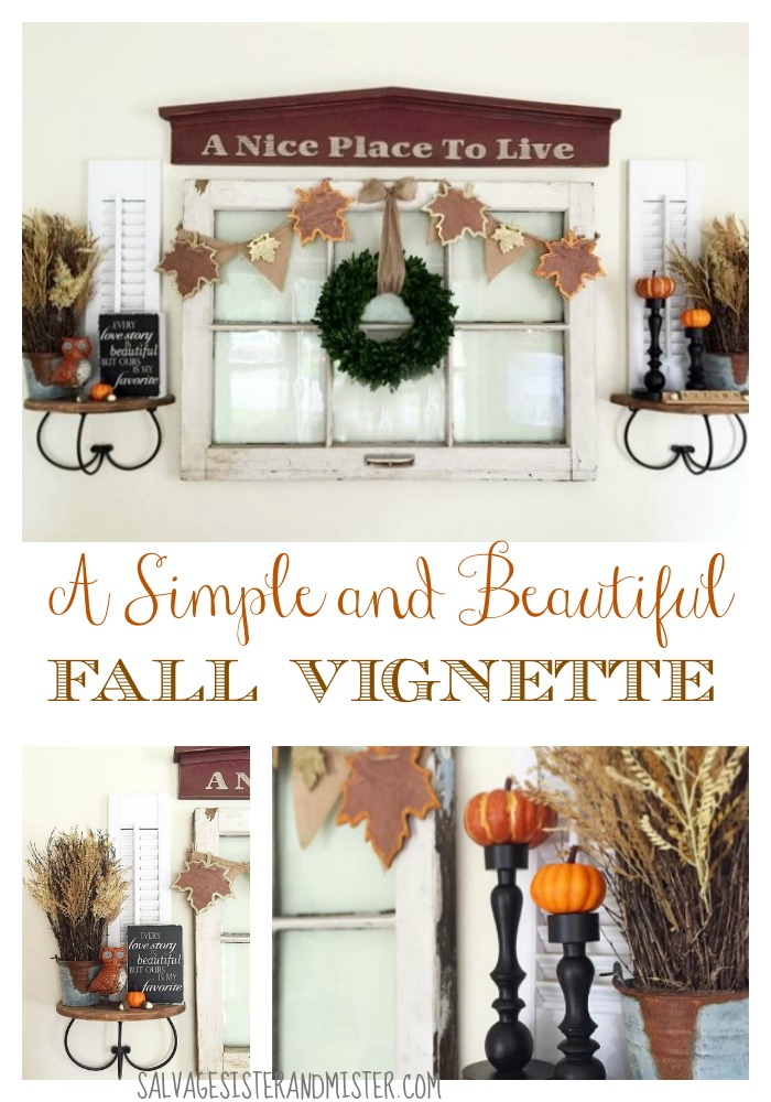 This simple and beautiful fall vignette is a great way to show you don't have to spend a lot of money to create a festive home. Decorating for the holidays often costs money and creates lots of storage issues. By using these tips, you can decorate for the fall or any holiday easily.