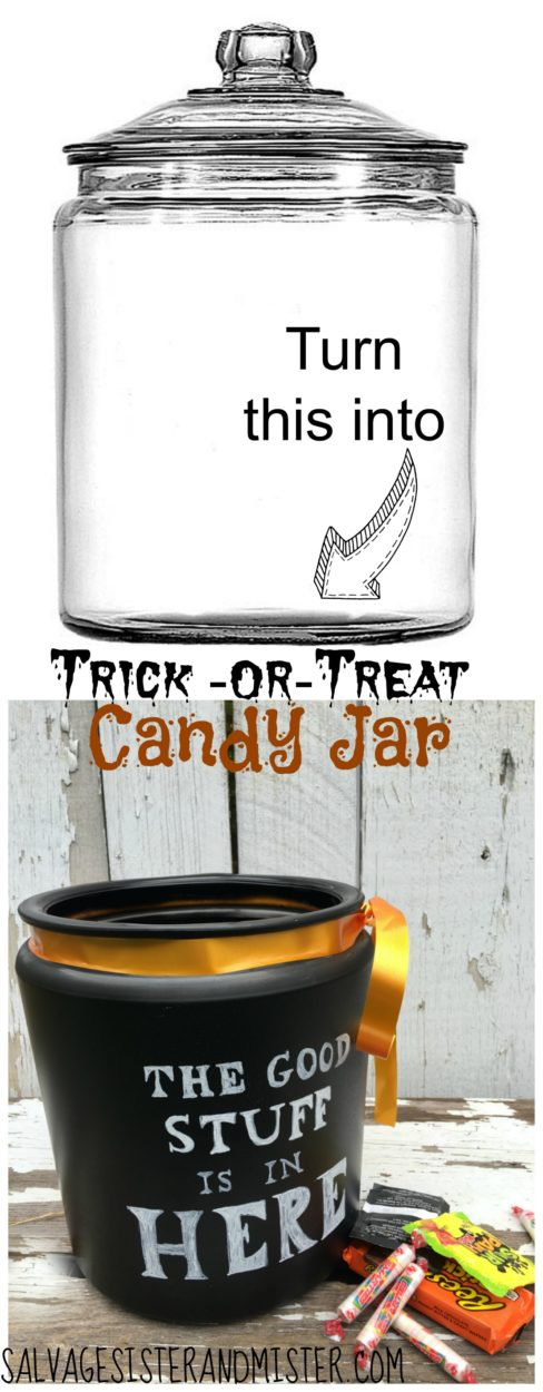 Take a glass jar and turn it into a trick or treat candy jar.  Or remove the ribbon and just use it in the pantry for all the good treats.  All the good stuff is in here jar!  Easy diy