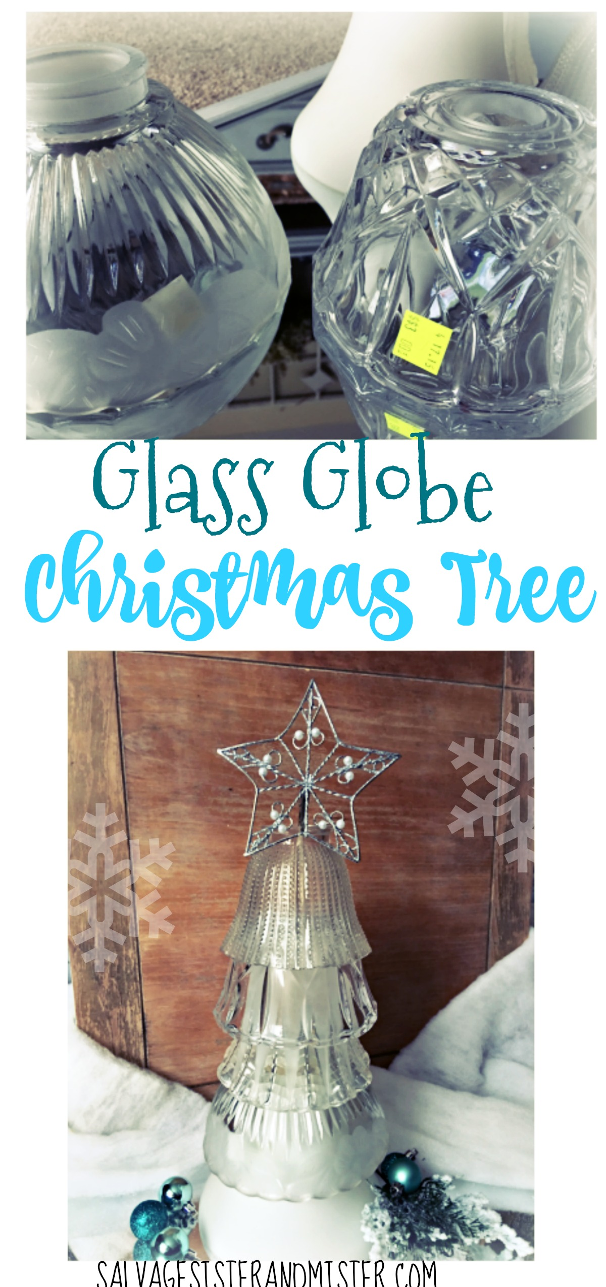 Glass globe christmas trees from thrifted globes. Old discarded glass fixtures can be upcycled into this easy christmas decor. Very inexpensive ot make . You can do this permanently or temporarily. Super easy craft!