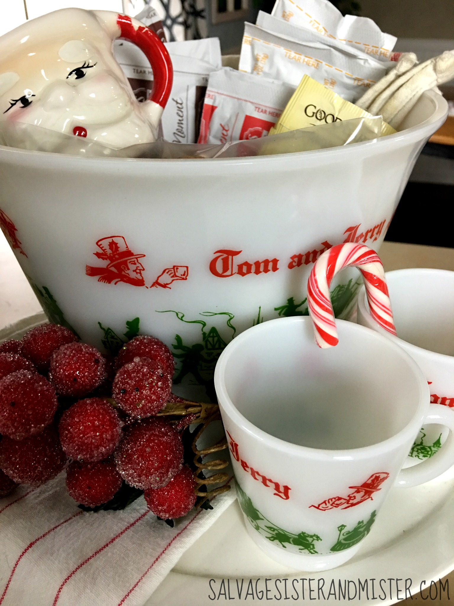 This vintage Tom and Jerry punch bowl is used as a hot cocoa bar. Placed on a cake stand this is using stuff we already have for a salvaged christmas home tour.