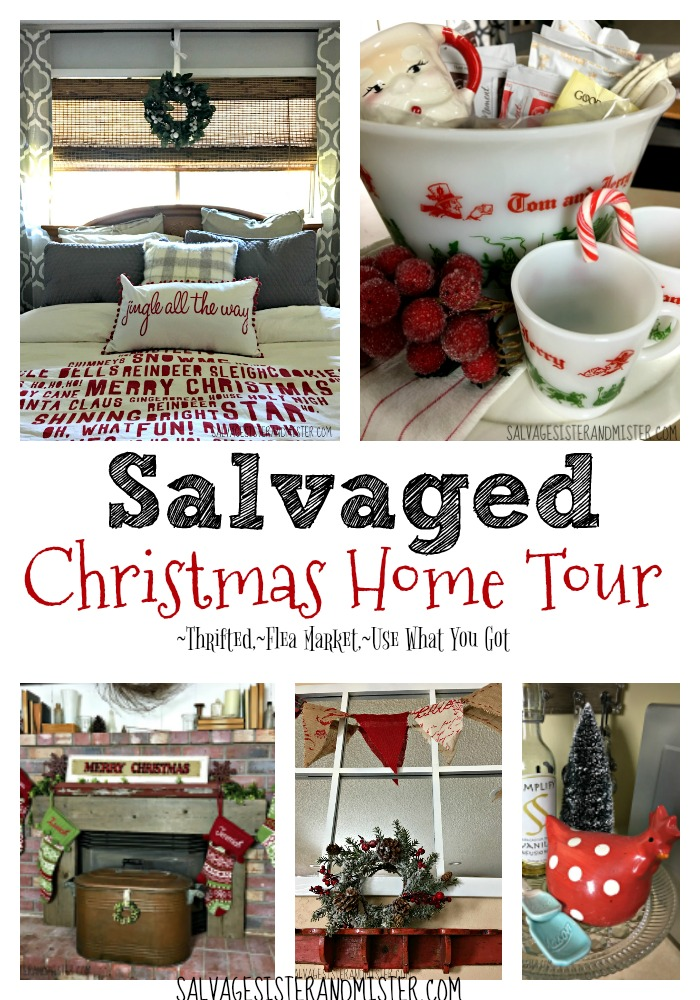 Thrifted, flea market, goodwill, upcycled, items you already have are all great ways to have a festive home without tons of boxes and spending lots of money. Take the salvaged christmas home tour to see the different ways to make the most with what you have and decorate for the holidays.