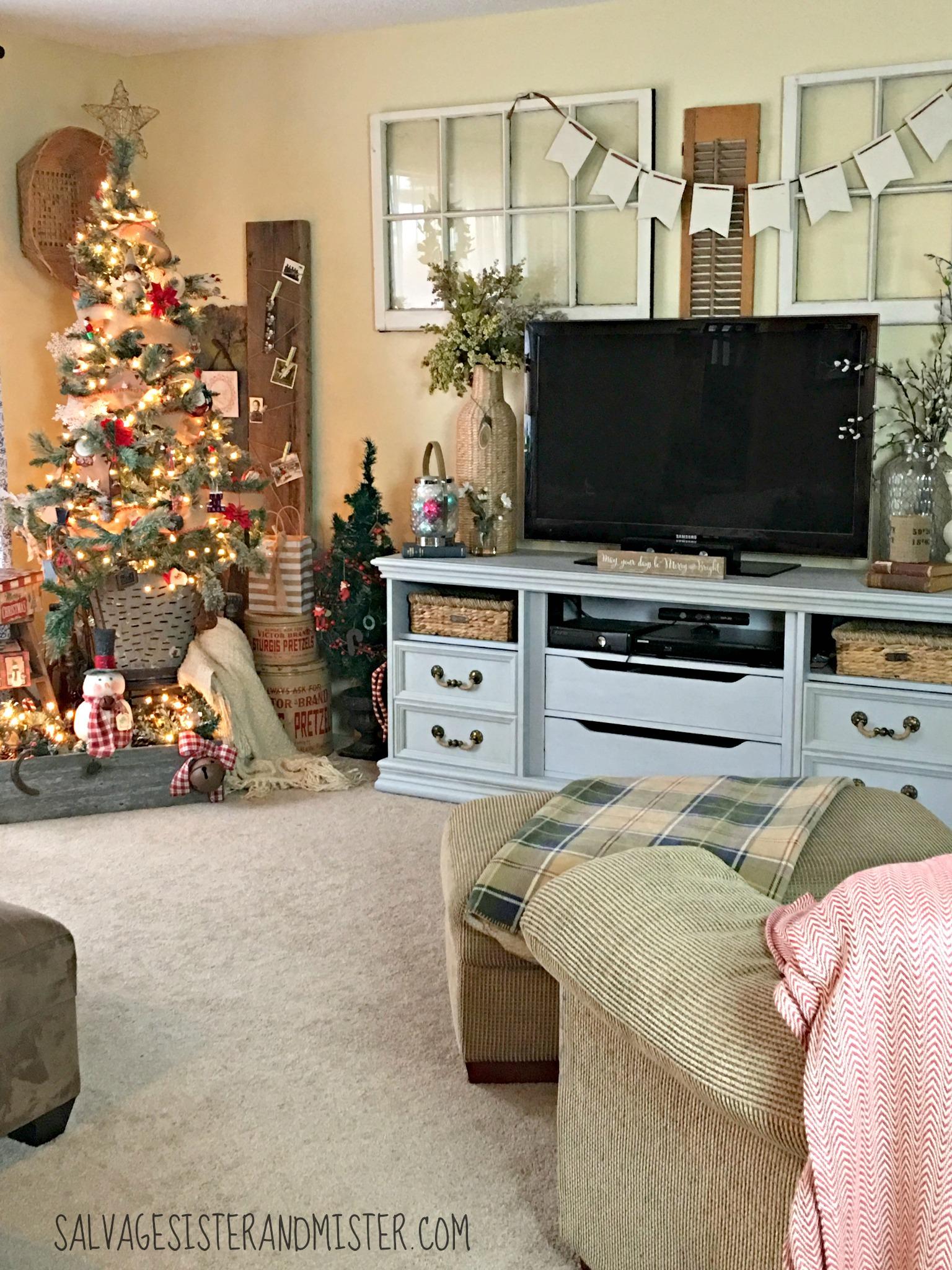 salvaged christmas home tour living room salvage sister and mister