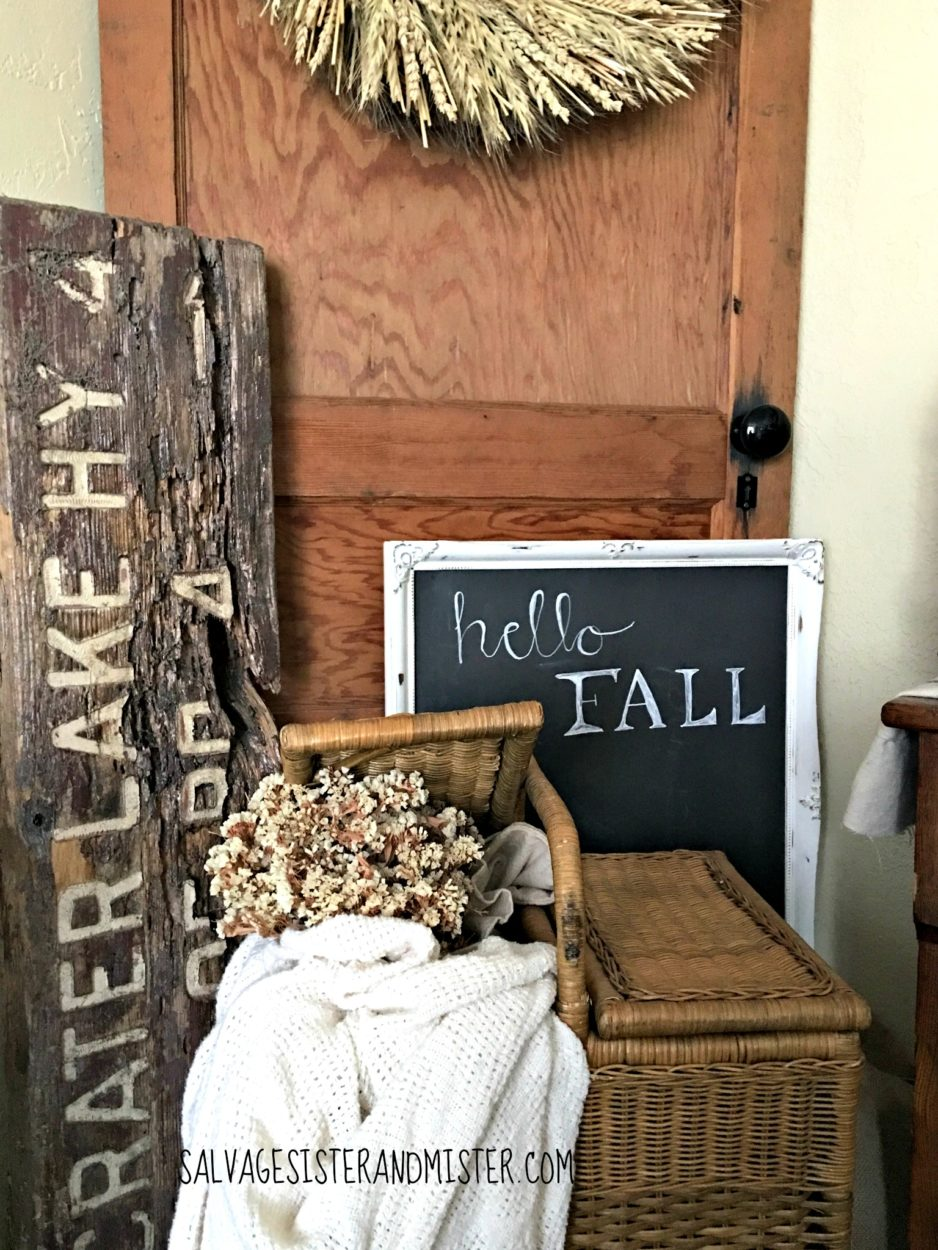 A great piece of home decor is a chalkboard. It lets you decorate for each season so you never have to store it. Come see other salvaged home decor items in the fall home tour