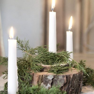 If you recently cut down a tree, take these wood slices and create a beautiful centerpiece. Holiday decoraitng doesn't have to be complicated or expensive. Simple elegence. Farmhouse style.