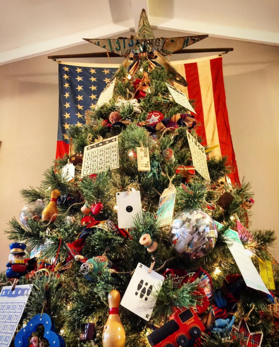 A vintage toy tree with a license plate star shows you you can have a beautiful tree with items you already have. Pick a theme and start turing items into ornaments. Come see tons of use what you got inspiration