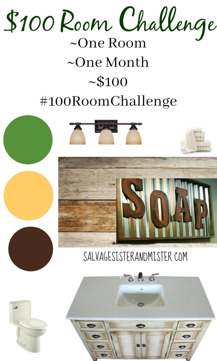 Our Salvage Deisgn board for the $100 Room Challenge. Our bathroom is very dated. We will be doing some DIY projects to update it on a tight budget. Come see the before picture and what we plan to do. You can decorate your home inexpensively.
