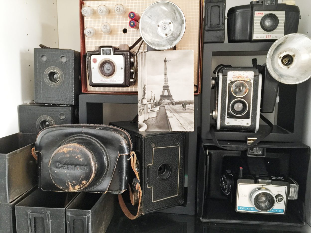 .Here is a collection of vintage cameras. Decorating doesn't have to cost a lot. Come see some tips on how to use collections and vintage items in your home.