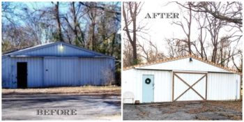 Inexpensive shed makeover. Using what you have, a little labor, and a few purchaed items, this shed makeover now fits the home beautifully. No more eye soar. Great DIY project.