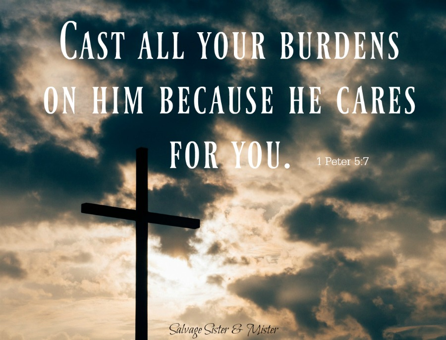 1 peter 5:7 Cast your budens onto Him for he cares for you. When you are having one of those days do you know God wants to hear your pain and sorrow. He wants to confort you and not compare your hurts. Bad days will happen. Inspiration and faith based. Salvagemoments