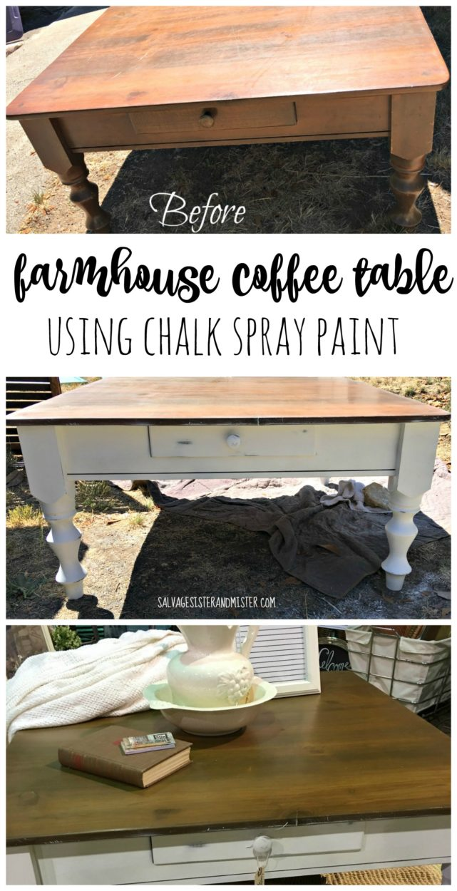 A found thrift store table gets a fixer upper makeover with some chalk spray paint.  This DIY farmhouse coffee table look was easy to achieve with a little distressing as well.  Get the look you want for less when you visit a thrift store.