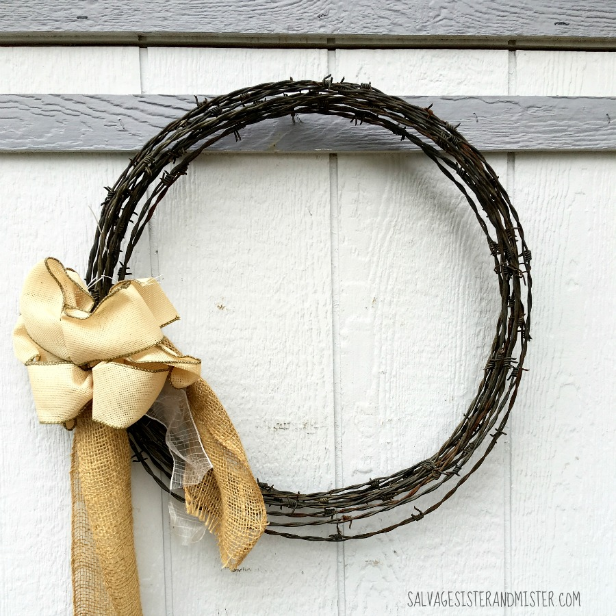 Uses Of Barb Wire : Salvaged burlap barbed wire wreath salvage sister and mister