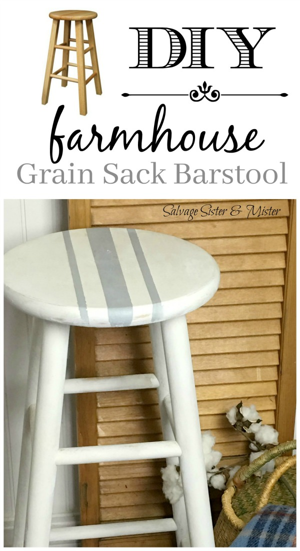 Turn an old cheap looking barstool into a farmhouse piece.  This grain sack inspired paint makeover gives this average barstool that extra look.  An easy diy project that you can do in an afternoon.  Come check out this simple tutorial on salvagesisterandmister.com