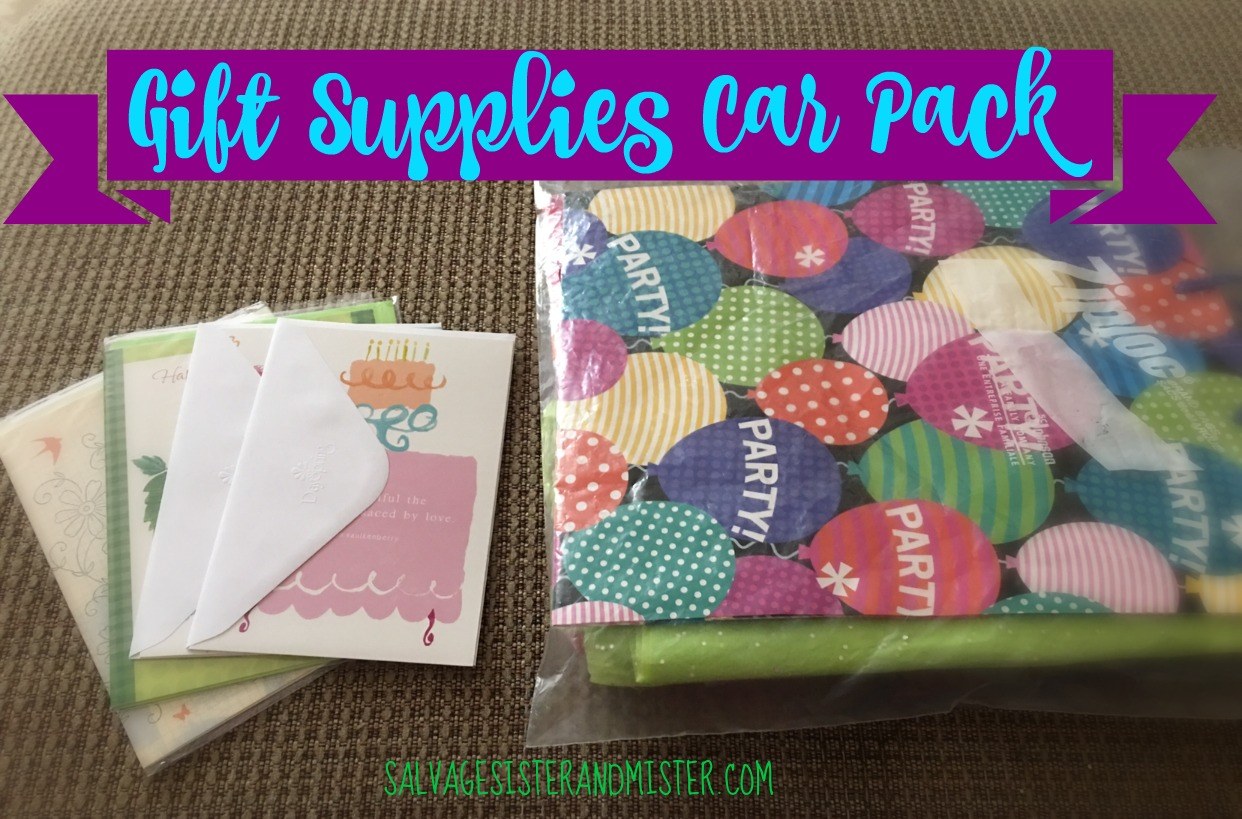 Forgot a birthday card? Need to purchase a last minute gift but don't want to pay for all the extra supplies (tissue paper, card, gift bag, etc) put together a pack to put in your car so you don't have the added expense in the gift supplies.