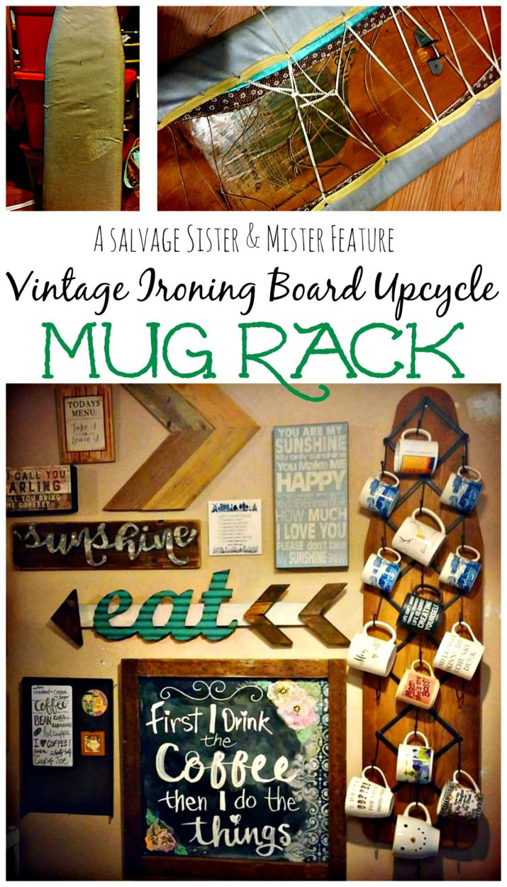 Have a flea market find that you want to upcycle? How about this vintage ironing board upcycle into a coffee station mug rack. See this DIY and be inpired to make use of things you may already have. Repurpose items as they have rich history and a story to tell.