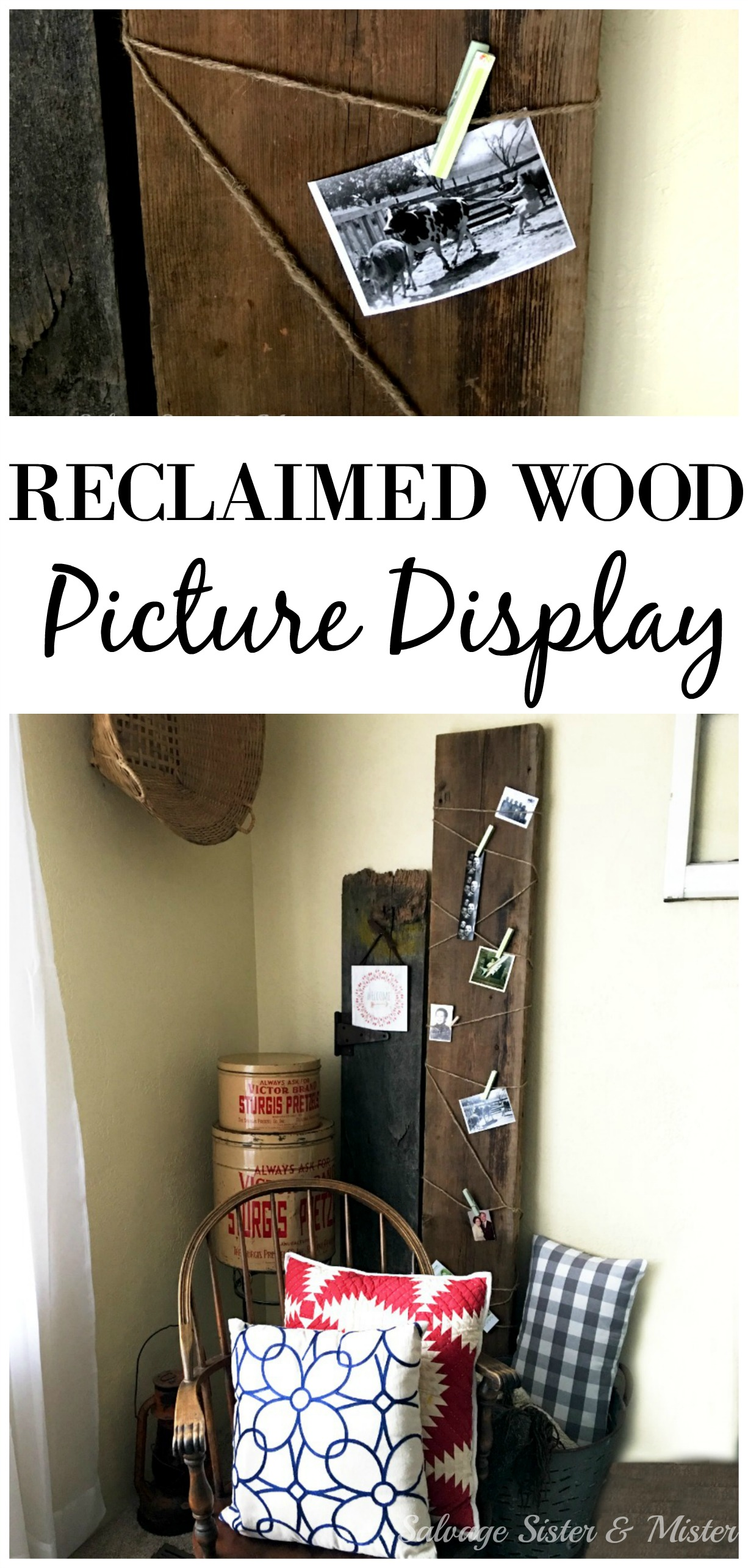 Making a DIY reclaimed picture display couldn't be easier. Plus its a great way to fill in a corner in your home (home decor). Salvaged wood is perfect in carious sizes in your home decor. Rustic look. Salvage Designs