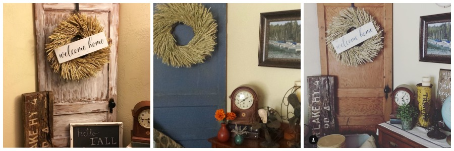 A rustic door and wreath in a living room. salvagesisterandmister.com