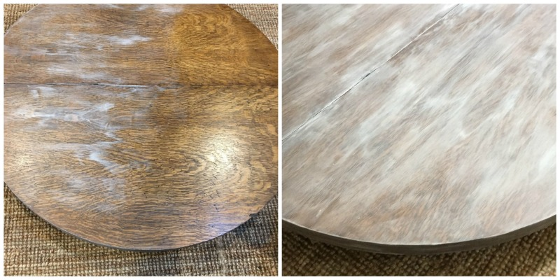 Using limewash on a wood table to give it a rustic worn look. Would be good for a beach vibe