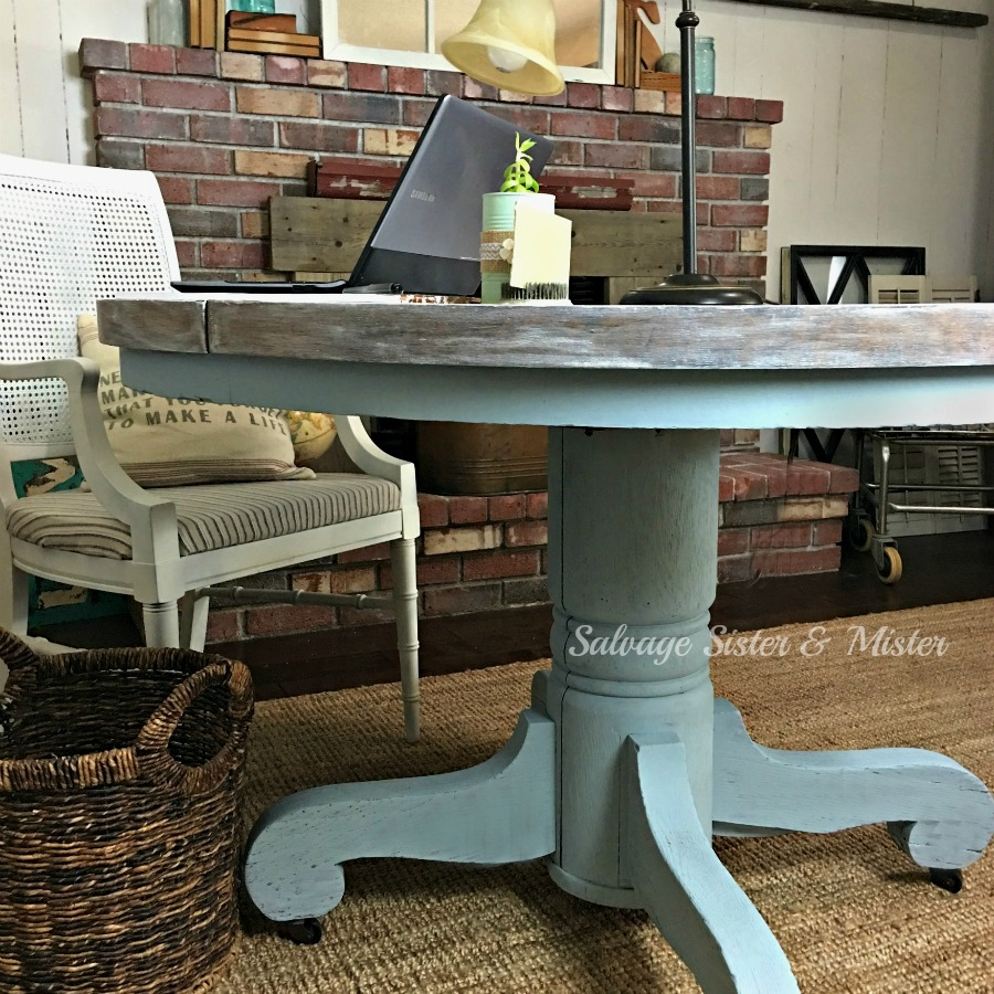 When you get a free round table and need a desk, what do you do? You chalk paint it and limewash the top and now you have a free round table desk for your home office. An easy diy project that takes something no one wanted and makes it new again.