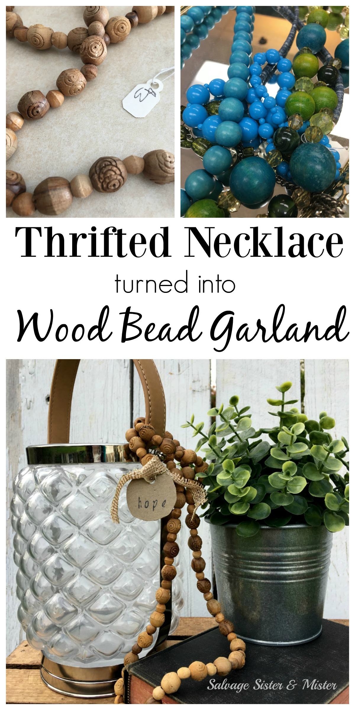 Bubble or round bead necklaces can be reused or upcycled to use as wood bead garland.  This DIY project is super easy and inexpensive to do.  Create a farmhouse vignette with faux wood beads by adding to vases, lanterns, drapping around books, or on a tray.  Easy hoe decor uses soemthing that someone no longer wanted in a new way -waste not want not.  Or chekc your own jewelery stash for beads of your own to use in the craft project.