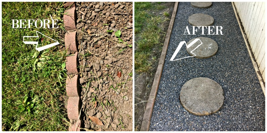 Updating our backyard project. Reuse those scalloped bricks into a straight brick boarder. DIY project to make this area a little more beautiful. Added some gravel and stepping stones to complete the pathway.