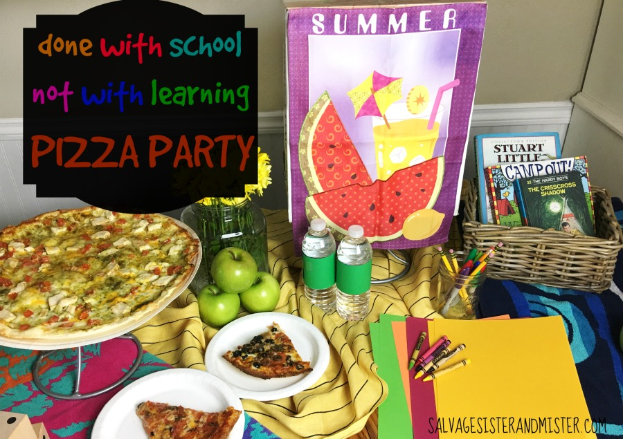 "Kick off the end of the school year not only with a pizza party but also an introduction to ""learning"" activities over the summer.  Just because it's summer doesn't mean the learning has to stop.  In fact, they might not even realize they are learning."
