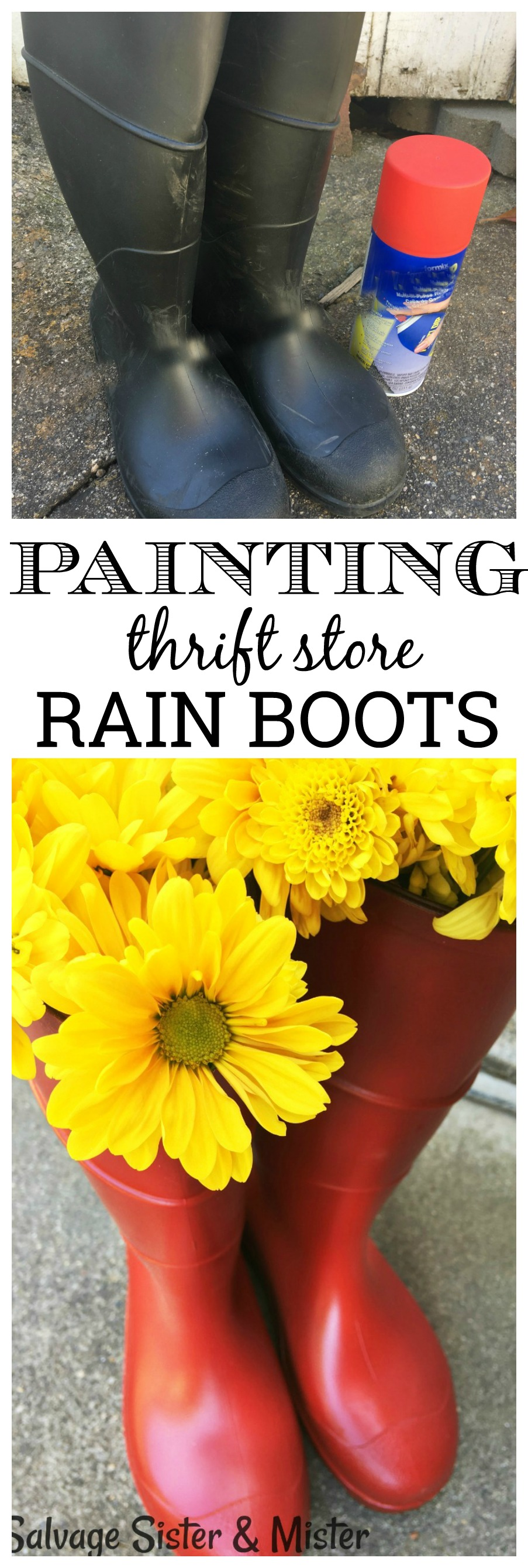 Do you have some old rain boots you would like to update? Or do you want to copy the Hunter Boot trend in farmhouse home decor? Boots, to wear or to use for decoration, can be updated with just a little of the RIGHT paint. This diy project is easy to do and way cheaper than purchasing new ones.