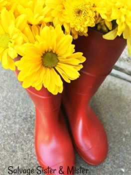 Painting thrift store rain boots to make them new again. Whether you use rain boots to wear or to use in home decor, you can change the look. Reuse old rain boots and give them a whole new look. Faux Hunter Boots. Perfect to use in home decor for the farmhouse look. Add to a bench or even in your holiday decor.