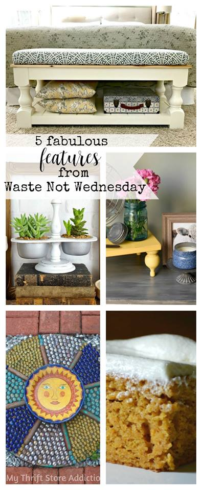 It's time for Waste not Wednedsay. Link up your frugal, thrifty, bargain, diy,, upcycle, reuse, repurpose projects and recipes. Don't have anything to link? Come and see what weveryone has been creating. Be inspired.