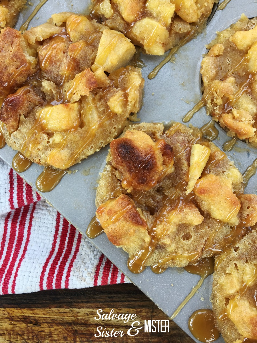 Got stale donuts? Make an apple caramel bread pudding muffins to make sure they don't go to waste. They are delicious and perfect recipe for the fall.