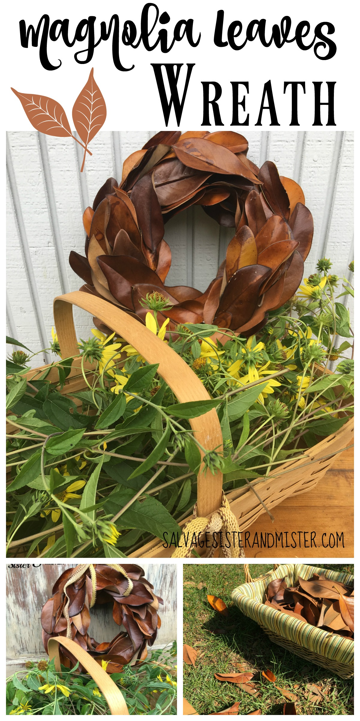DIY a wreath using items you have. This easy craft is inexpensive and is on trend in farmhouse decor. Use it indoors or outdoors. Thrift style team is showing how to use items from a thrift store to decorate your home. Magnolia wreaths are so popular and this is by under five dollars version. Frugal is so pretty.