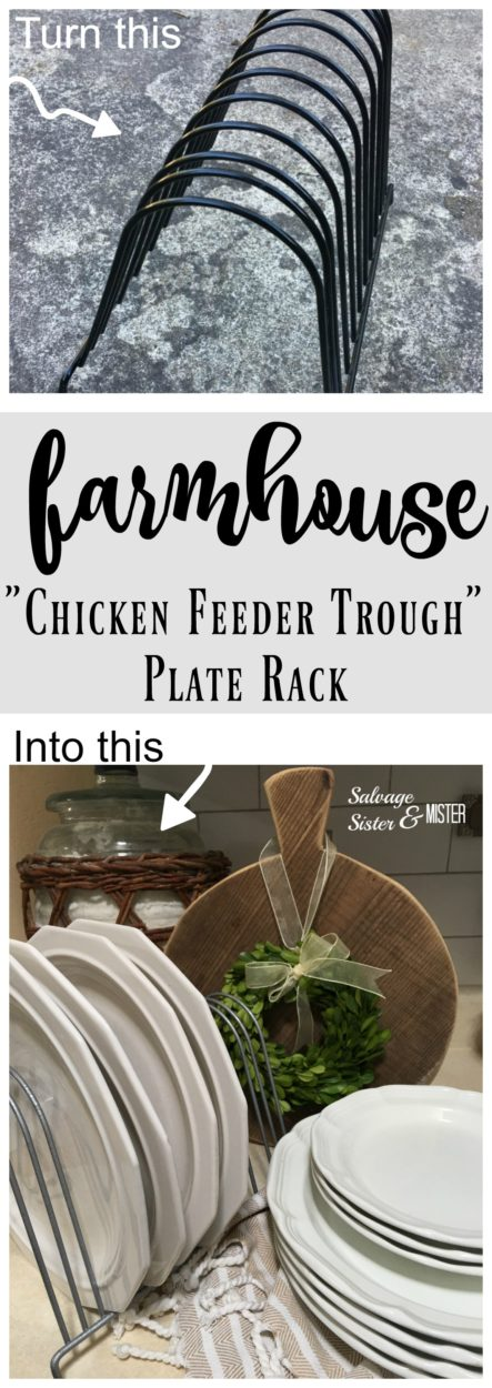 Farmhouse style on a budget! You can use what you have or find thrited items to turn into the hottest farmhouse decor trends. Here's how to do a faux DIY farmhouse chicken feeder trough plate rack. This is an easy and budget friendly way to use what you have or upcycle something. Repurposing other items to get the look you want .