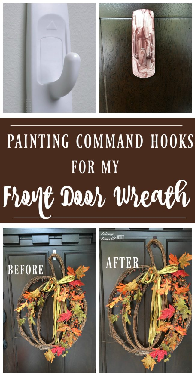 My front door had a beutiful wreath but had one problem. It had a white command hook that is great for not damaging my door and it's works really well but it stood out. I grabbed some paint for a little diy and now I salvaged that hook situation to make it blend in with my door. Home decor the easy way. Home tip for yoru fornt porch makes it have curb appeal.