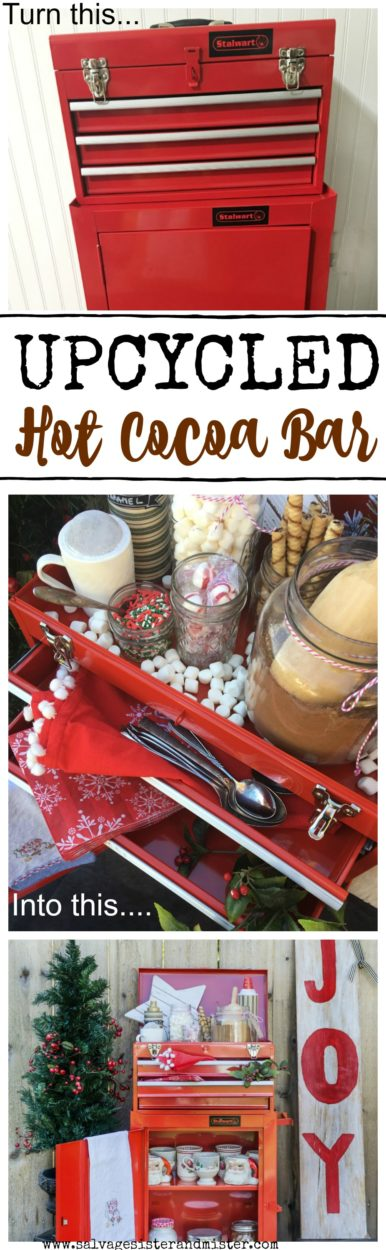 Make an upcycled cocoa bar with whatever you have on hand. Here is a repurposed tool box / chest made into a cocoa station for parties or entertaining. Fun for the holidays. Use what you got. #upccyle #hotcocoa