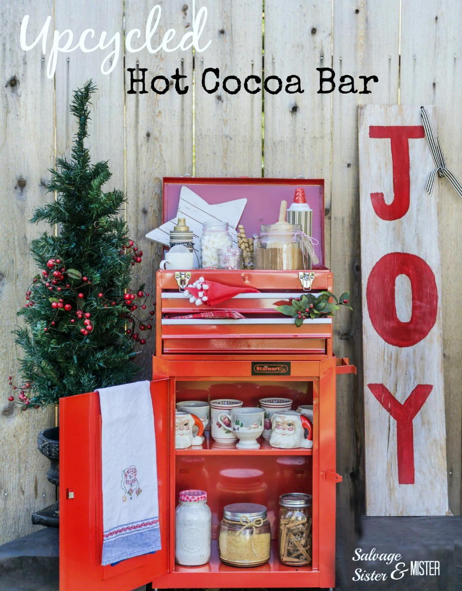 A tool chest and box turned into a hot cocoa bar for the holidays. This reuse project shows that you can use all sorts of items in a new way. Repurpose your Christmas season #upccyle #hotcocoabar