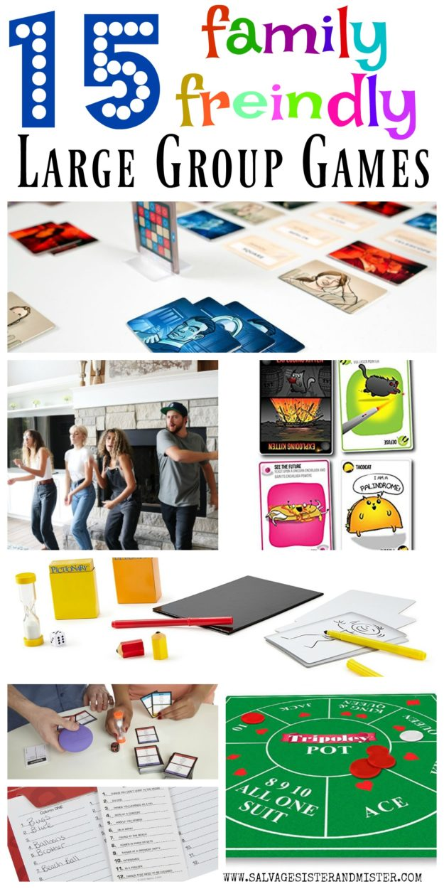 Having a large group get together? Here are 15 family friendly large group games that create lasting memories for all. See our favorite games. Some are strategic and some are fast paced and easy. All will create a fun time and many laughs. Whether you are having friends over for game night or time wiht family and friends at the holidays or just family time, these games will be a great addition to the evening. Classic board, car, and dice games.