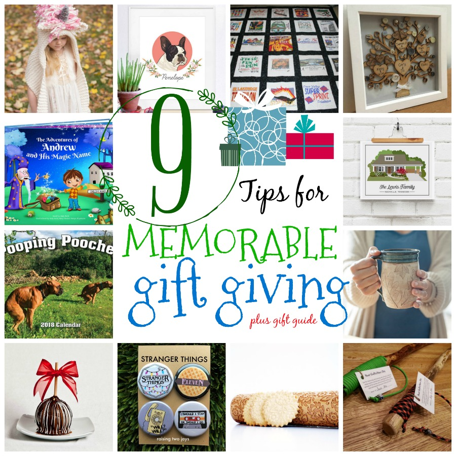 9 tips for memorable gift giving and a shopping guide. Look for unique, handmade, meaningful gift ideas for everyone on your list.