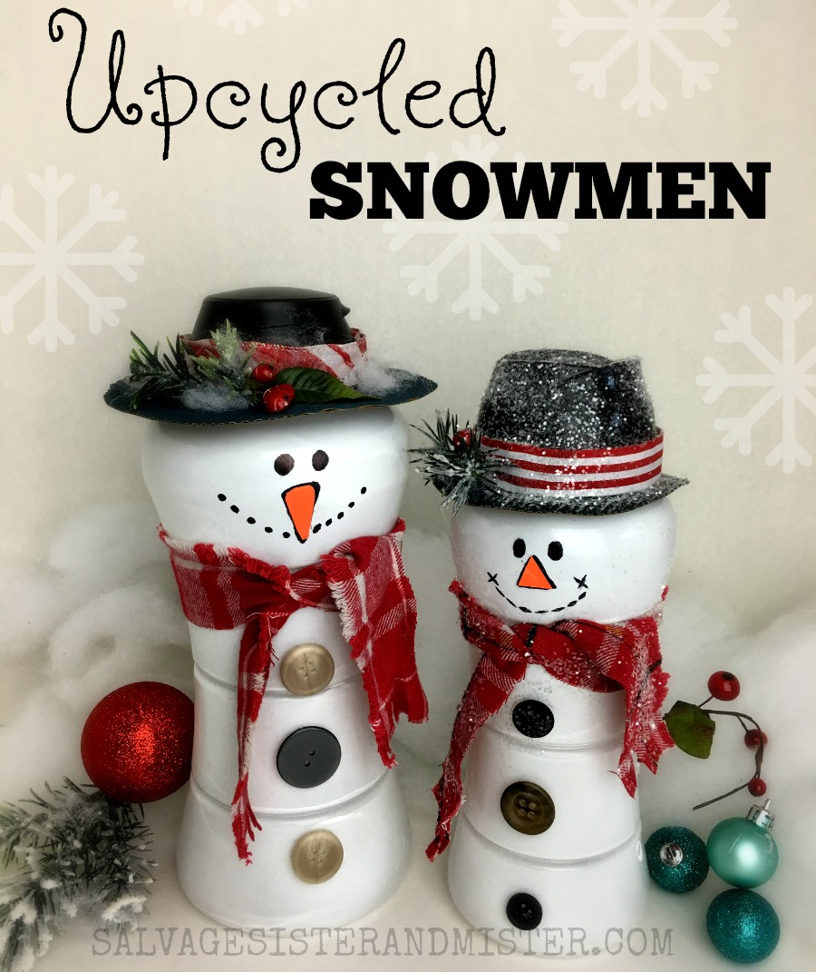 DIY craft - Upcycled snowmen using downy unstoppable bottles. This repurposed project is easy to do and great for kids or a group activity like ladies craft night. A full tutorial so you can make this and customize it to your style. These snowmen (snowwomen) were used with all items on hand. Waste not want not. Reuse crafts so you can reduce waste.