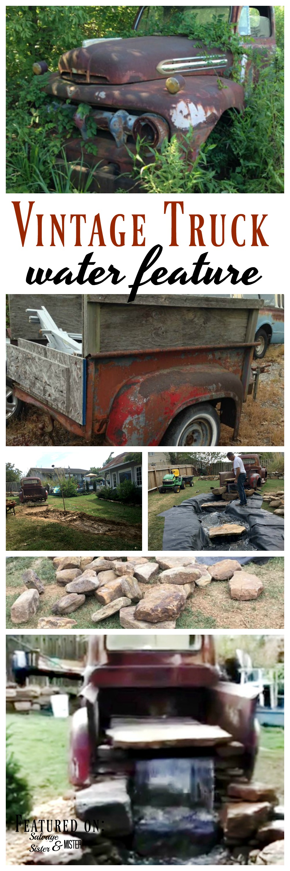 A vintage truck water feature for the backyard. Come tour this DIY backyard oasis complete with a cottage made from almost all repurposed materials. Fun and unique upcycle projects. #upccyle #backyard