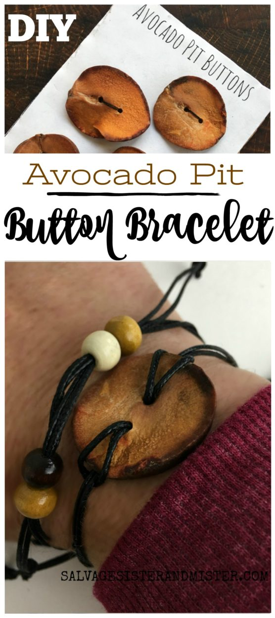 Step by step DIY tutorial on how to turn buttons into a bracelet. We used an avocado pit button as a great way to reuse repurpose or upccyle. This is a fun craft to do for a ladies craft night or teen project (summer camp craft) or a great DIY gift idea. #diy #giftidea #repurpose