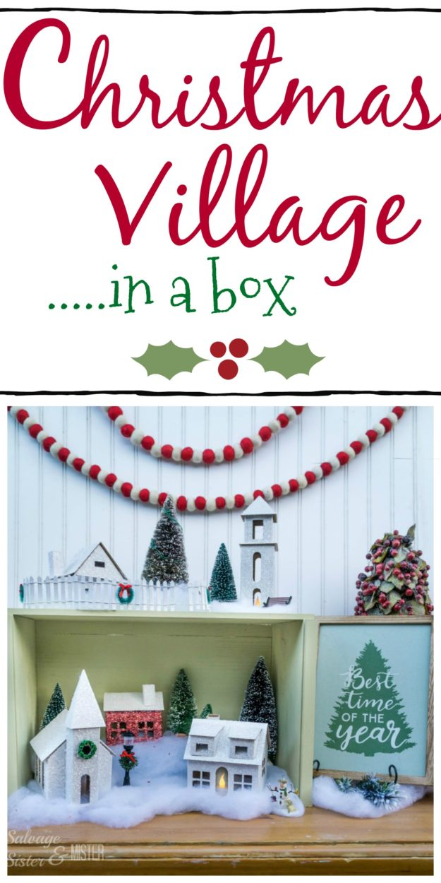 If you want a christmas village but don't have the space or time, this is for you. A diy christmas village in a box. Easy to store and great for small space decorating. Quick setup for holiday decorating. Cardboard christmas village with an upcycled box.