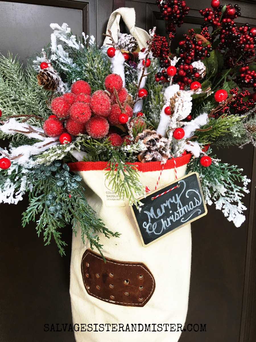 A feed bag Christmas door decoration. This DIY craft is simple and busget friendly. It makes use (reuse) of an item for another use.