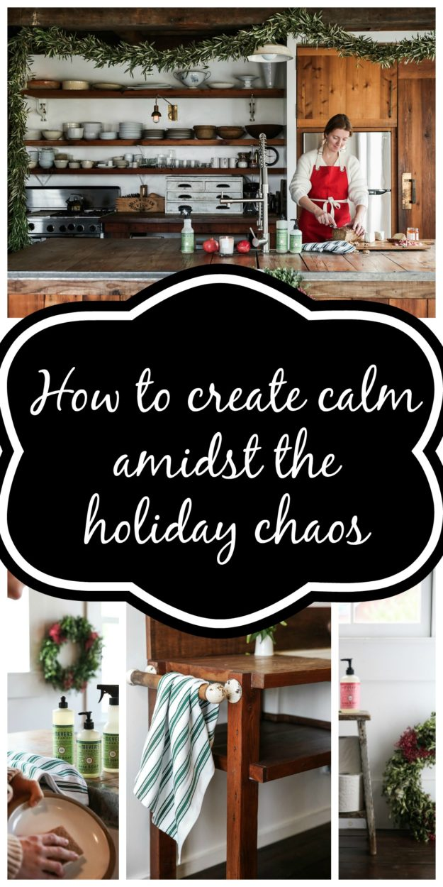 How to create salm amidst the holiday chaos. Find tips and a special offer with Mrs. Meyers holidays scents with Grove Collaborative. Peppermint, Orange Clove, and Iowa Pine are the natural cleaning products that you can use around your home.