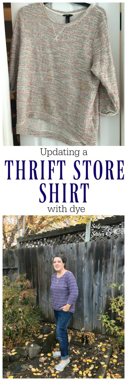 thrift store update wiht dye. Using fabric dye to change up a thrifting find that just wasn't the right color. Fix a stained garment, change the look of fabric pieces, and more. And easy DIY to make the most of items so they can be used again. #dye #thrifting