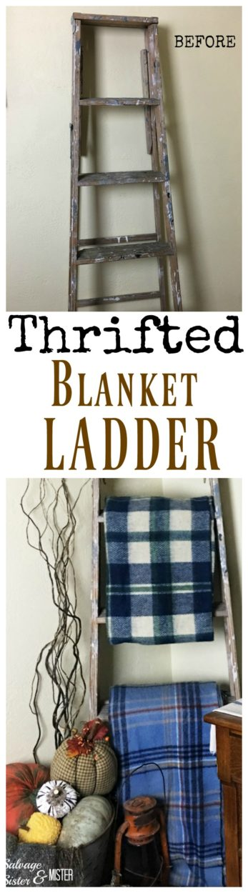 Attention thrift store shoppers. Gather those old ladders and use them in your home decor. Budget decorating with free or thrift store finds. These old ladders make for a perfect decor item. Thrifted blanket ladder to make use of a corner in a room. Repurposing or uccycle ladders that can no longer be used to stand on. Salvage Designs is all about decoraitng your home with items you already have. #upcycle #reprupose