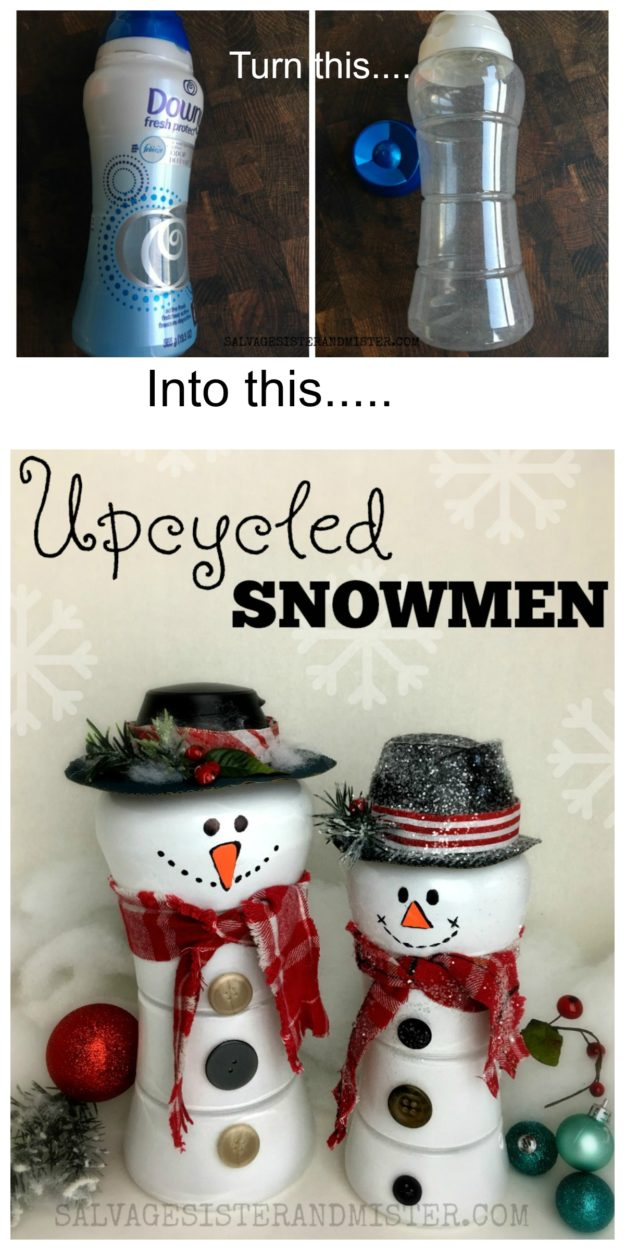 Cute upcycled snowmen from downy unstobble bottles. A great reuse or repurpose activity for a craft group or kids activity. Ladies night craft. Customize these to your style. Fun holiday decor or classroom activity or decoration.