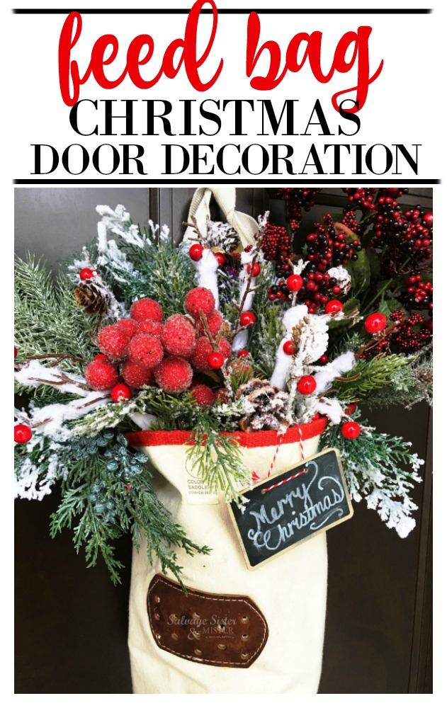 Want a unique wreath for your home?  Here is a way to repurposed a feed bag as a door decoration.  A unique decoration that upcycles and is fun at the same time.  Get this diy waste not, want not easy decoration at salvagesisterandmsiter.com