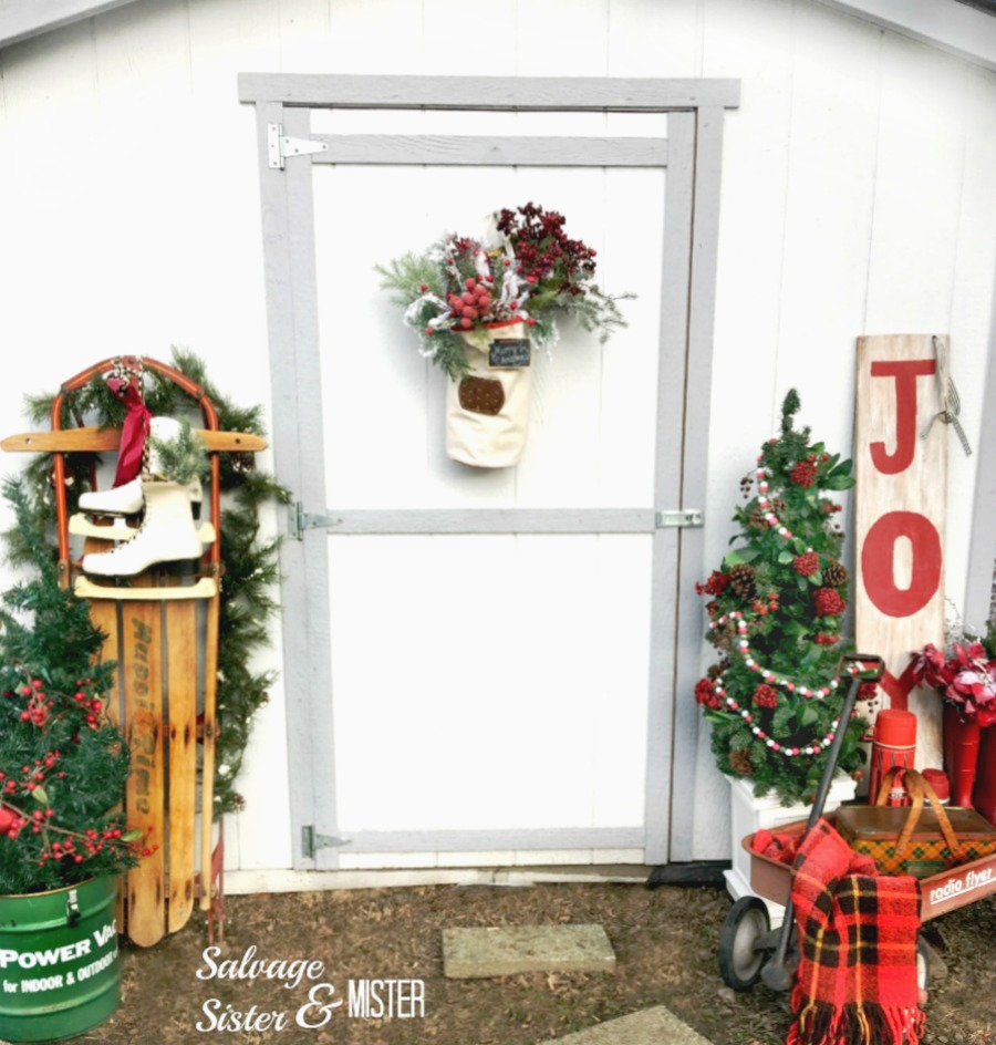 Reversible holiday sign - fall and joy for Christmas. Easy home decor item from a yard sale scrap piece of baord. Thrift style team blog hop.