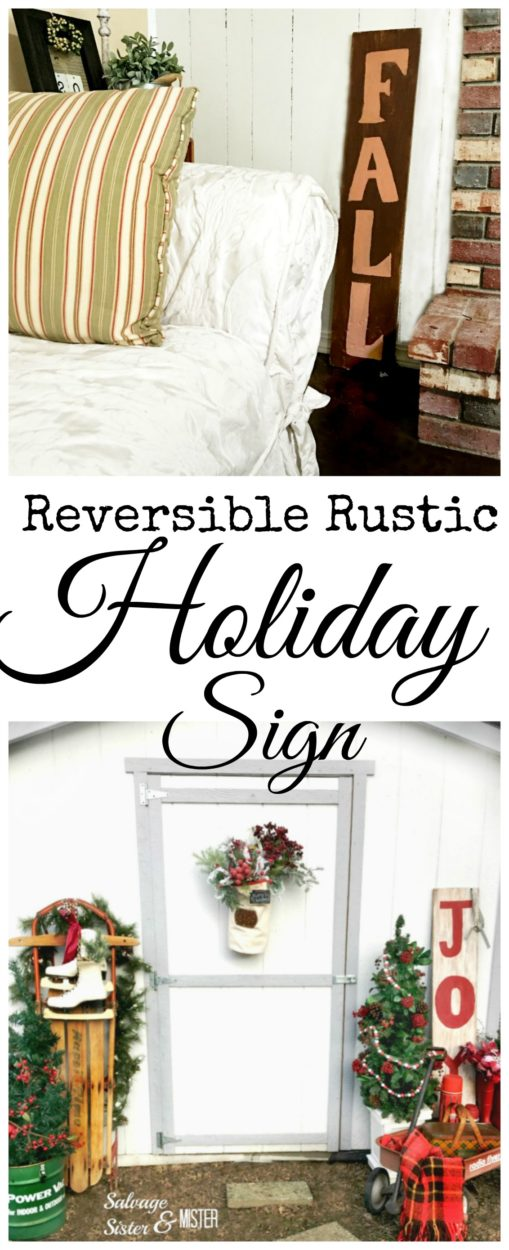 A piece of damaged scrap wood was transformed into a reversible rustic holiday sign. Fall on one side and joy on the other. Just turn the sign around and it can be used for many months of holiday decorating. This DIY project is easy and budget friendly. Great repurpose since the wood was in need of repair. #woodsign #diyholiday