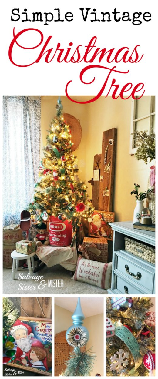 This vintage christmas tree was a $10 tree that has been spruced up. with thrifted finds. Holiday decor doesn't have to be expensive. Upcycle,reprupose, and items that have been reused make up the majority of this tree. Add in some DIY ornaments as well. Vintage tin to hold the tree and a vintage santa print makes this tree very nostalgic. -throwback. #vintagechristmas #christmastree