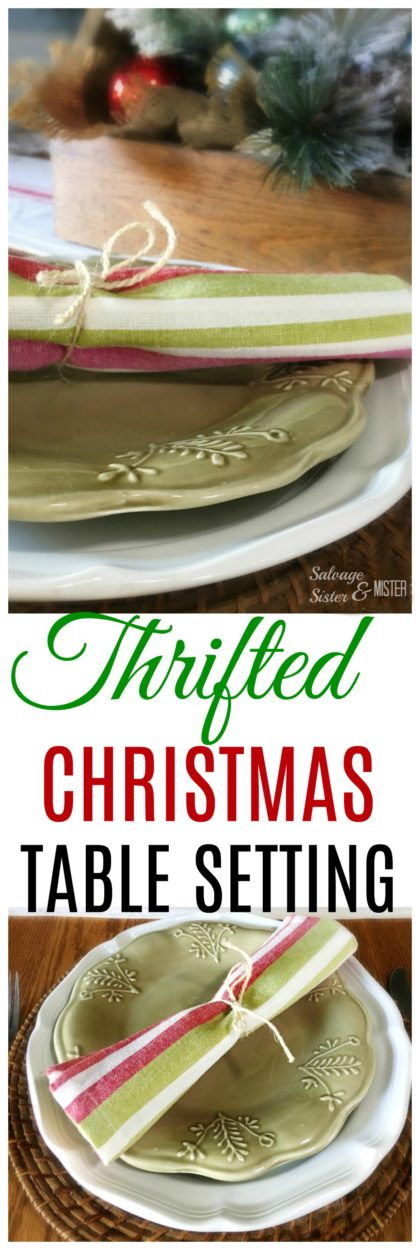 Do you think Christmas needs to be expensive?  Here is a thrifted Christmas table setting that is not only budget friendly (frugal) but it is also very simple for those who don't have a lot of time.  Thrifting is a great way to fill your home with things that will get a new life and create less waste. Tablescapes done easily.  #tablescape #budgetholiday